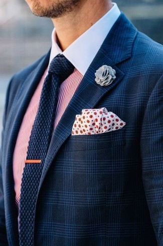 How to wear: navy plaid blazer, white and red vertical striped dress shirt, navy knit tie, white and red polka dot pocket square