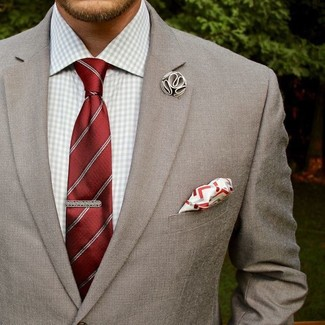 How to wear: grey blazer, grey gingham dress shirt, red vertical striped tie, white and red pocket square
