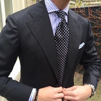 How to wear: black blazer, light violet vertical striped dress shirt, black and white polka dot tie, white pocket square