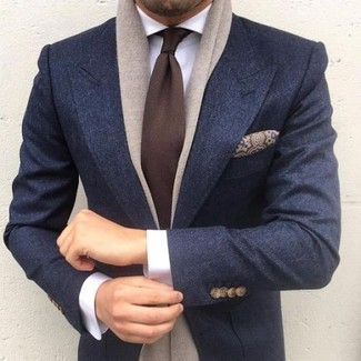 How to wear: charcoal wool blazer, white dress shirt, dark brown tie, brown paisley silk pocket square