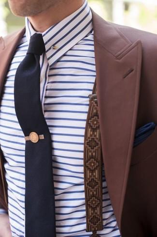 How to wear: burgundy blazer, white and blue horizontal striped dress shirt, navy tie, navy pocket square