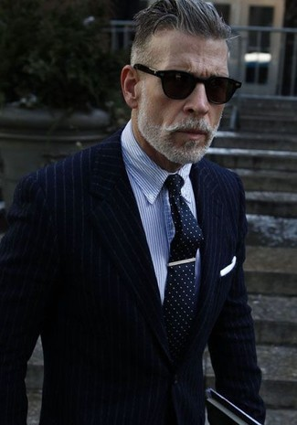 c0c11ad8207645 ... Nick Wooster wearing Navy Vertical Striped Blazer, Blue Vertical Striped  Dress Shirt, Navy and