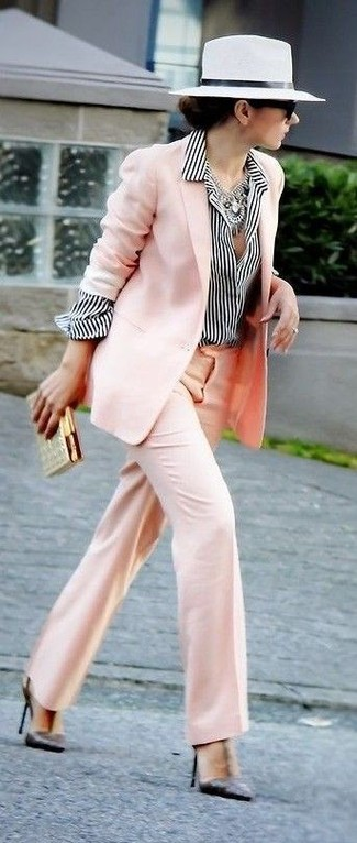How to wear: pink blazer, white and black vertical striped dress shirt, pink wide leg pants, black leather pumps