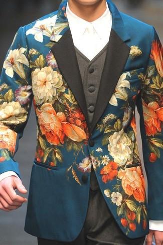 Cómo combinar: blazer con print de flores en verde azulado, chaleco de vestir en gris oscuro, camisa de vestir blanca, pantalón de vestir en gris oscuro