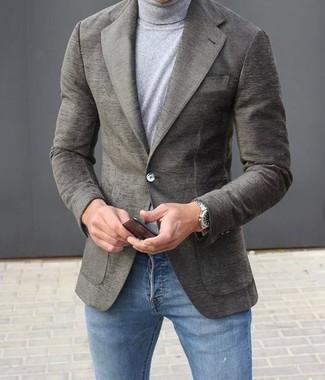 Jersey de cuello alto gris de Drumohr