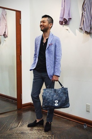 How to Wear Navy Vertical Striped Chinos: A light blue linen blazer and navy vertical striped chinos combined together are a wonderful match. A trendy pair of black suede loafers is the simplest way to breathe a touch of polish into this ensemble.