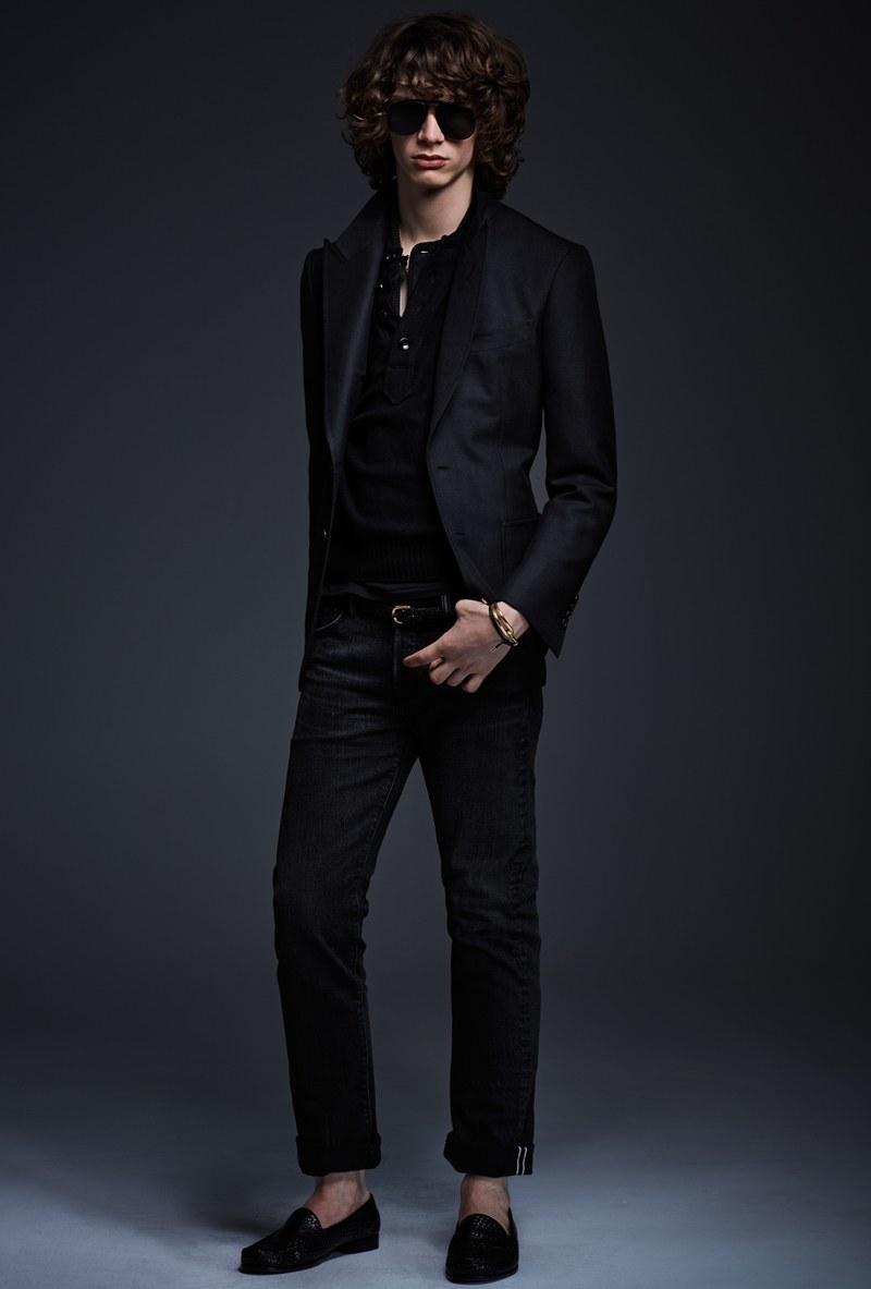 Men's Black Blazer, Black Henley Shirt, Black Jeans, Black Leather ...