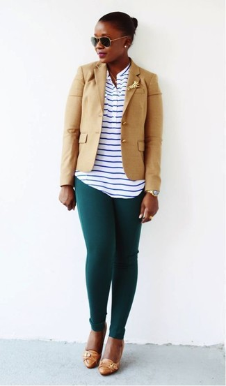 How to wear: tan blazer, white and navy horizontal striped henley shirt, dark green leggings, tan leather pumps