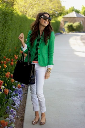 How to wear: green blazer, green horizontal striped henley shirt, white skinny pants, tan leopard leather ballerina shoes