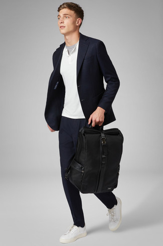 How to wear: navy blazer, white henley sweater, grey crew-neck t-shirt, navy chinos