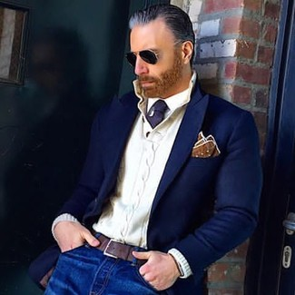 How to wear: navy wool blazer, white knit henley sweater, white dress shirt, blue jeans