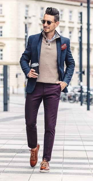 How to wear: navy wool blazer, beige henley sweater, white and blue vertical striped dress shirt, dark purple chinos
