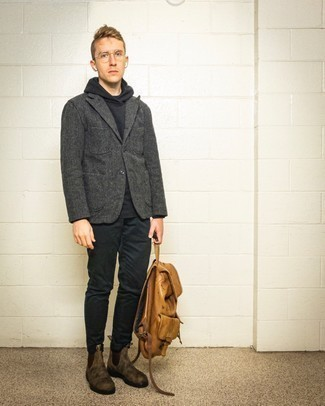 Brown Suede Chelsea Boots Outfits For Men: You'll be surprised at how easy it is for any gent to put together this casually smart ensemble. Just a charcoal wool blazer worn with black chinos. For footwear, you could stick to a more elegant route with brown suede chelsea boots.