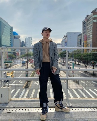 Charcoal Baseball Cap Outfits For Men: To create an off-duty getup with an edgy spin, marry a grey plaid wool blazer with a charcoal baseball cap. Tan leather high top sneakers work amazingly well with this ensemble.