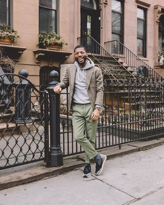 Athletic Shoes with Dress Pants Outfits For Men: This sophisticated pairing of a tan plaid blazer and dress pants will prove your outfit coordination prowess. Dial down this outfit by rocking athletic shoes.