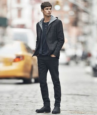 How to Wear Black Jeans For Men: This pairing of a charcoal blazer and black jeans embodies rugged elegance and versatility. Black leather casual boots are a savvy choice to finish your getup.