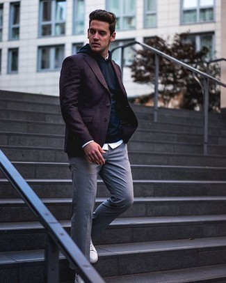 Burgundy Blazer Outfits For Men: Inject a touch of effortless sophistication into your day-to-day repertoire with a burgundy blazer and grey chinos. Hesitant about how to finish off? Complete your outfit with white leather low top sneakers for a more relaxed touch.