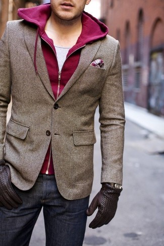 Men's Brown Wool Blazer, Burgundy Hoodie, Grey Tank, Navy Jeans