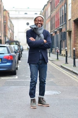 How to wear: navy wool blazer, navy jeans, charcoal leather casual boots, white beanie
