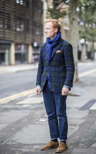 How to wear: navy and green plaid blazer, navy jeans, brown suede derby shoes, orange pocket square
