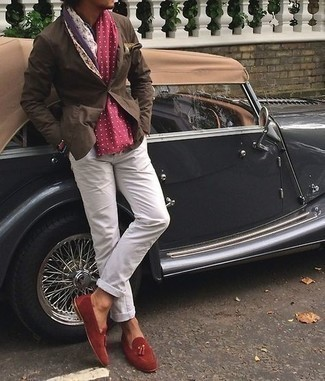 Jacket Outfits For Men: You'll be amazed at how easy it is for any gentleman to get dressed like this. Just a jacket married with white jeans. Inject your outfit with an extra dose of sophistication with a pair of red suede tassel loafers.