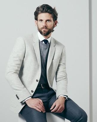 Jersey con cuello circular gris de Giorgio Armani