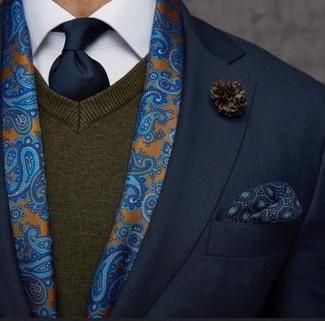 Cómo combinar: blazer negro, jersey de pico en marrón oscuro, camisa de vestir blanca, corbata azul marino