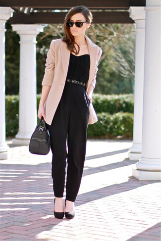 Consider pairing a cream jacket with a jumpsuit for a glam and trendy getup. Black suede pumps will bring a classic aesthetic to the ensemble.
