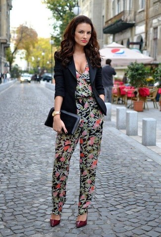 How to wear: black blazer, black floral jumpsuit, burgundy leather pumps, black leather clutch