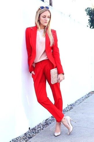 How to wear: red blazer, white long sleeve blouse, red dress pants, beige leather pumps