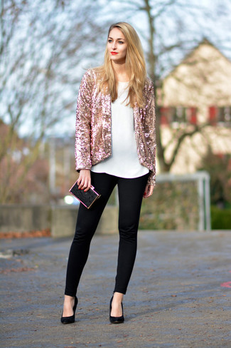 This combo of a pink sequin blazer and a Dolce & Gabbana women's Dolce Clutch will set you apart effortlessly. Add black suede pumps to your outfit for an instant style upgrade. This is a tested option for a stylish winter-to-spring transition outfit.