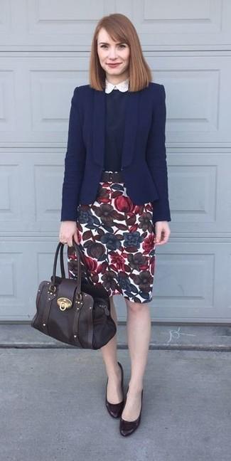 White Floral Pencil Skirt | Women's Fashion