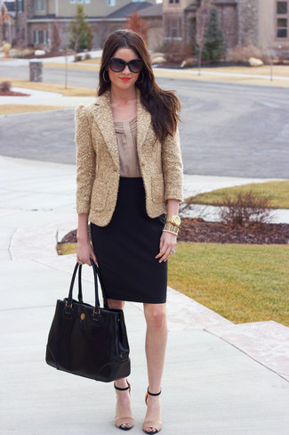 How to wear: gold sequin blazer, beige long sleeve blouse, black pencil skirt, beige leather heeled sandals
