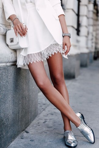 How to wear: white blazer, white silk long sleeve blouse, white lace skater skirt, silver leather loafers