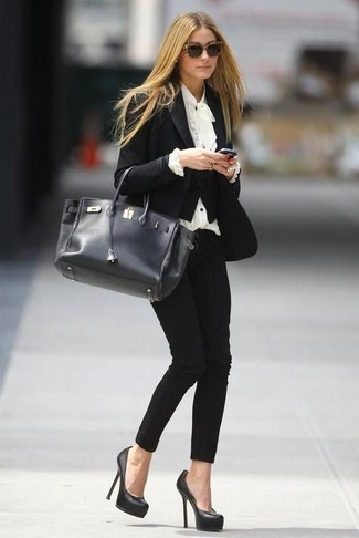 How to wear: black blazer, white ruffle long sleeve blouse, black skinny pants, black leather pumps