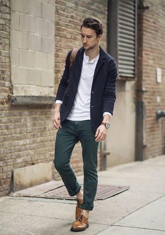 How to wear: navy wool blazer, white long sleeve henley shirt, dark green chinos, brown leather derby shoes
