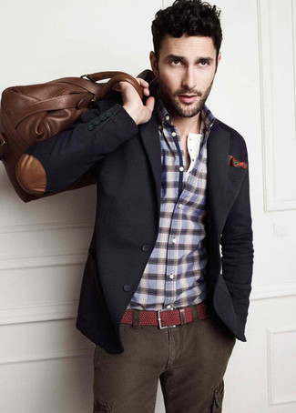 How to Wear a Navy Long Sleeve Shirt For Men: A navy long sleeve shirt and charcoal cargo pants are amazing menswear essentials that will integrate really well within your current rotation.