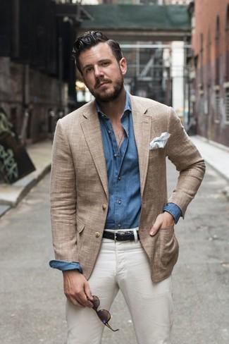 Men's Tan Blazer, Blue Chambray Long Sleeve Shirt, White Chinos, White Pocket Square