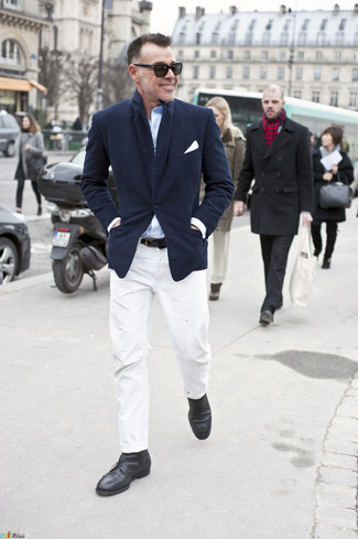 How to wear: navy blazer, light blue long sleeve shirt, white chinos, black leather desert boots
