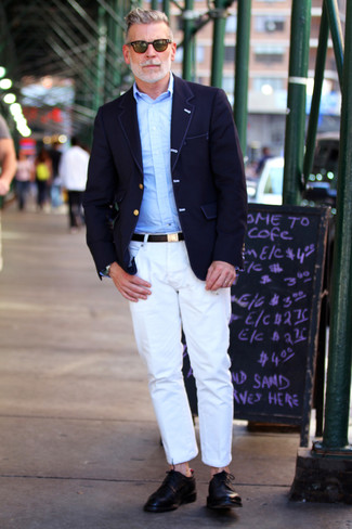 Nick Wooster wearing Navy Blazer, Light Blue Long Sleeve Shirt, White Chinos, Black Leather Derby Shoes