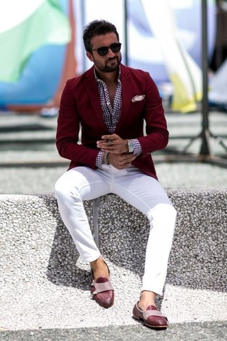 How to wear: burgundy blazer, burgundy gingham long sleeve shirt, white chinos, burgundy leather loafers