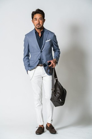 How to wear: blue blazer, navy long sleeve shirt, white chinos, dark brown suede driving shoes