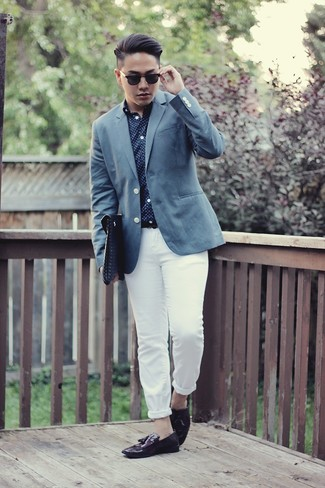 How to wear: blue blazer, navy and white polka dot long sleeve shirt, white chinos, dark purple leather tassel loafers