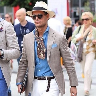 How to wear: beige blazer, light blue chambray long sleeve shirt, white chinos, beige straw hat
