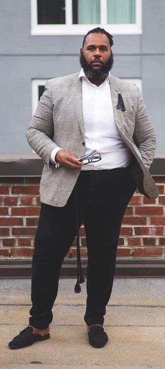 How to wear: grey plaid blazer, white long sleeve shirt, black chinos, black suede tassel loafers
