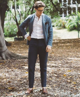 How to wear: blue blazer, white long sleeve shirt, navy chinos, brown leather loafers