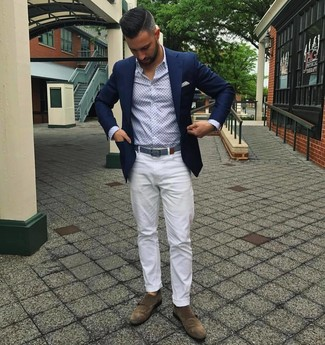 How to wear: navy blazer, light blue print long sleeve shirt, white chinos, brown suede double monks
