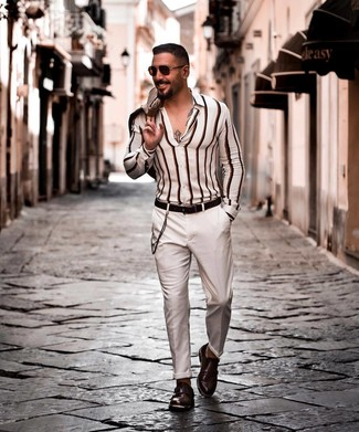How to wear: beige blazer, white vertical striped long sleeve shirt, white chinos, dark brown leather double monks