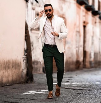 How to wear: white blazer, beige vertical striped long sleeve shirt, dark green chinos, brown leather loafers