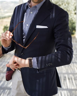 How to wear: navy blazer, navy and white gingham long sleeve shirt, white chinos, white pocket square